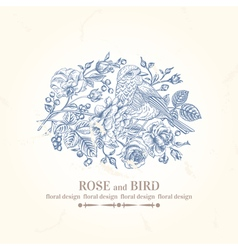 vintage wedding card with bird roses and berries vector image