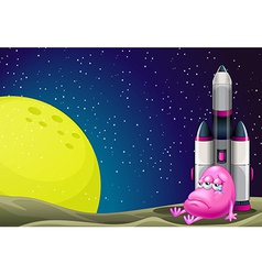 A sad monster beside the rocket in the outerspace vector