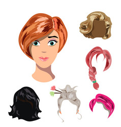 beautiful young girl with different hair vector image