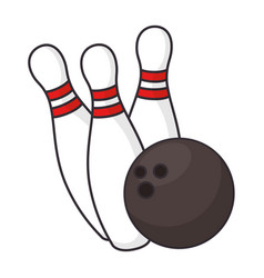 bowling ball and pines sport icon vector image vector image