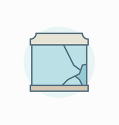 Broken aquarium colorful icon vector