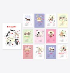 Calendar dogs sketches vector