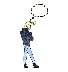 cartoon cool guy with thought bubble vector image vector image