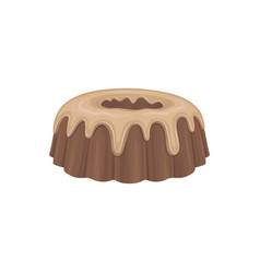 Chocolate cake with cream flat detailed food icon vector