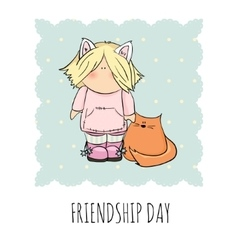 cute girl with cat doodle friendship vector image vector image