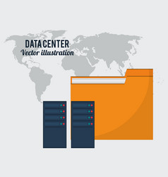 data center folder file storage global vector image