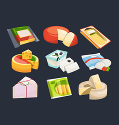 different packaging of cheeses vector image