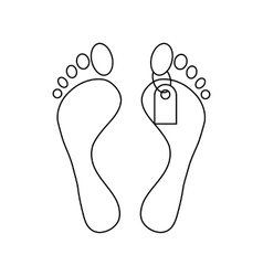 Feet with a tag icon outline style vector