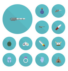 Flat icons assault rifle firearm weapon and vector