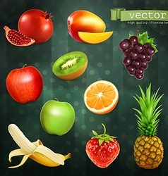 Fruits set of on dark background vector image