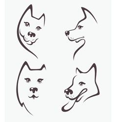 Funny dogs heads vector