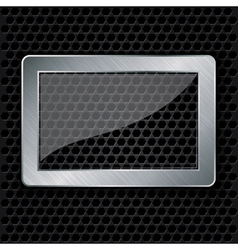 Glass in metallic frame on abstract metal speaker vector image