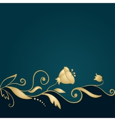 Golden floral ornament on green background vector image vector image