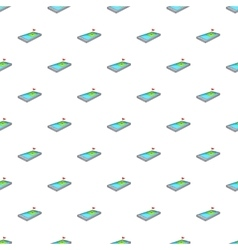 Golf course on phone pattern cartoon style vector