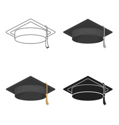 Graduation cap icon in cartoon style isolated on vector