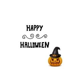Halloween card with pumpkin in hat isolated on vector image