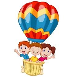 Happy kids cartoon riding a hot air balloon vector image vector image