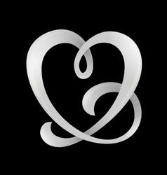 heart shaped ribbon vector image vector image