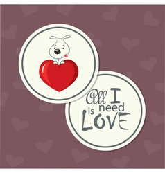 Love card dog on heart vector