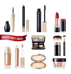 makeup items realistic set vector image vector image