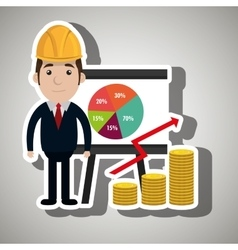 man and statistics isolated icon design vector image
