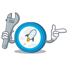 Mechanic stellar coin character cartoon vector