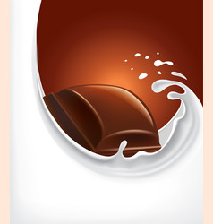 Milk splash with chocolate candy vector