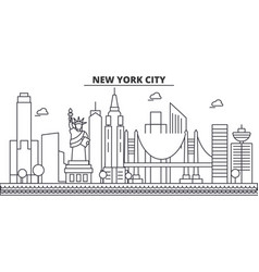New york new york city architecture line skyline vector