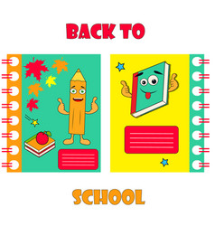 Notebook covers with funny pencil and backpack vector