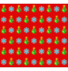 Pattern with glowing christmas trees and vector