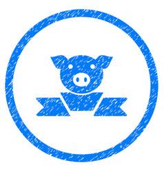 Pork award ribbon rounded grainy icon vector