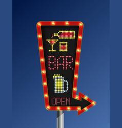 Retro arrow light banner open bar vector