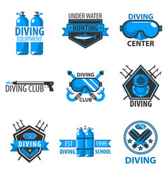 Scuba diving center or underwater hunt club vector