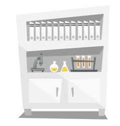 Shelves with folder microscope medical glassware vector