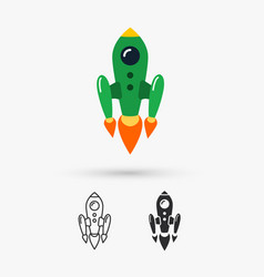 space rocket flying vector image vector image