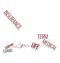 Term life insurance and no exam text background vector