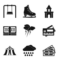visit to the park icons set simple style vector image vector image