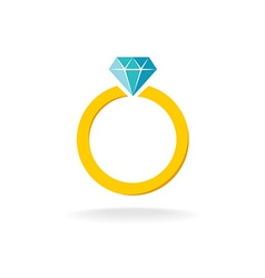 Wedding engagement ring simple color symbol with vector