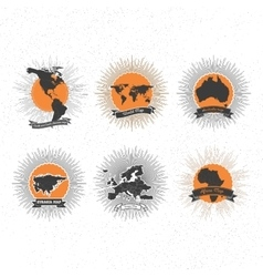 World maps badges set with vintage style star vector image
