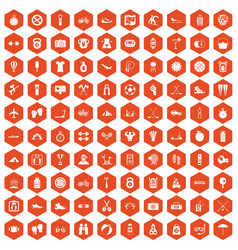 100 active life icons hexagon orange vector