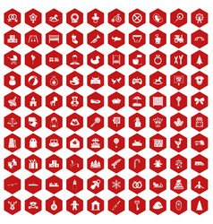 100 baby icons hexagon red vector