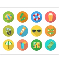 Set of summer icons in flat design vector