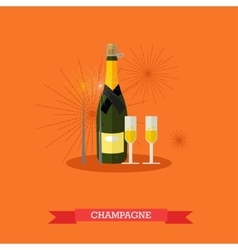 Champagne bottle and two glasses flat design vector