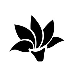 black silhouette with lotus flower icon vector image