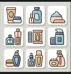 Icons of beauty cosmetics 11 vector
