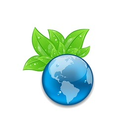 Symbol of planet earth with green leaves vector