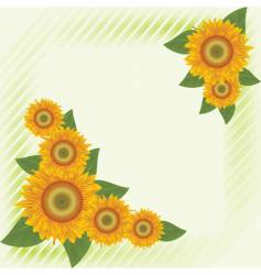 green background with abstract sunflowers vector image