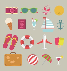 Summer flat icon set on the beach vector image