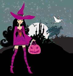 Witch with halloween pumpkin vector