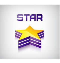 3d shiny star icon logo vector image vector image